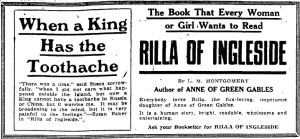 Ad for Rilla of Ingleside, The Toronto Daily Star, 21 December 1921.