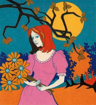 Cover art of the 1972 Canadian Favourites edition of L.M. Montgomery's novel ANNE OF INGLESIDE, depicting a red-haired adult woman wearing a pink dress with puffed sleeves, gazing at the reader with a neutral facial expression, holding orange flowers in her hands against a moonlit autumn backdrop.