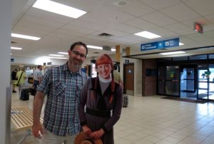 Ben with Anne at the Charlottetown airport