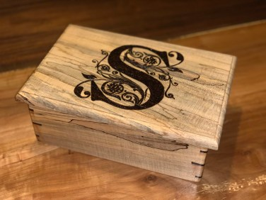 Rectangle Box with wood burned decorative S