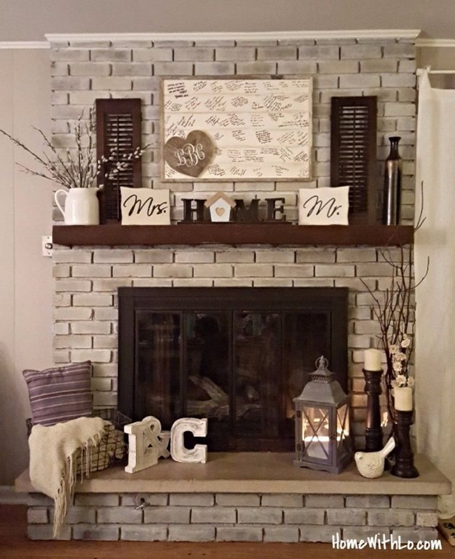 18 Popular Rustic Painted Brick Fireplaces Ideas 08