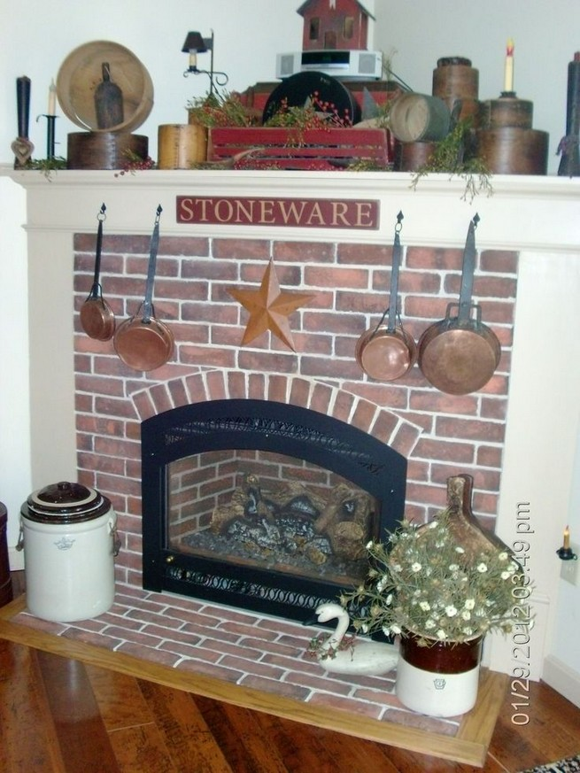 18 Popular Rustic Painted Brick Fireplaces Ideas 24