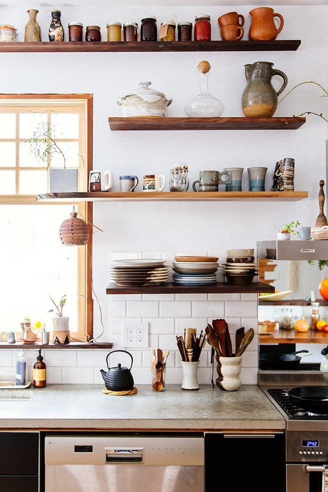 21 Stylish Rustic Kitchen Decor Open Shelves Ideas 13