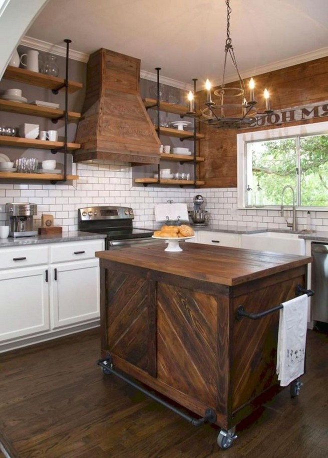 21 Stylish Rustic Kitchen Decor Open Shelves Ideas 15