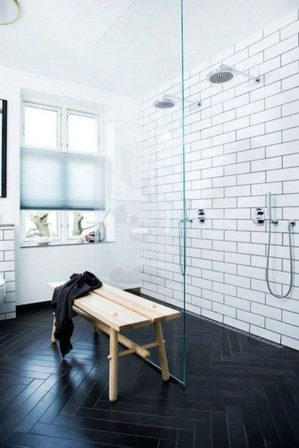 23 Stunning Black Shower Tiles Design Ideas For Bathroom 47