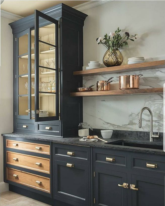 21 Gorgeous Dark Blue Kitchen Cabinets 05