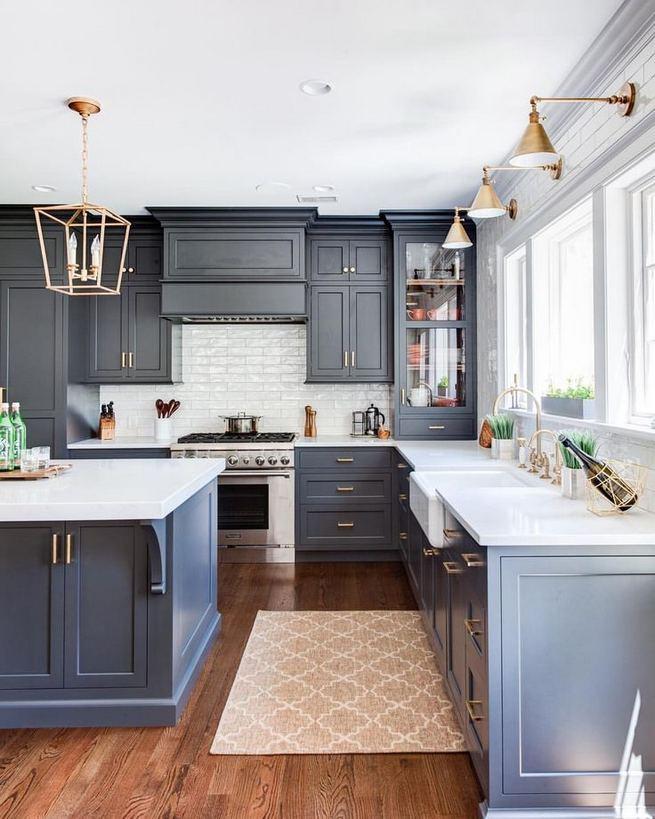 21 Gorgeous Dark Blue Kitchen Cabinets 23