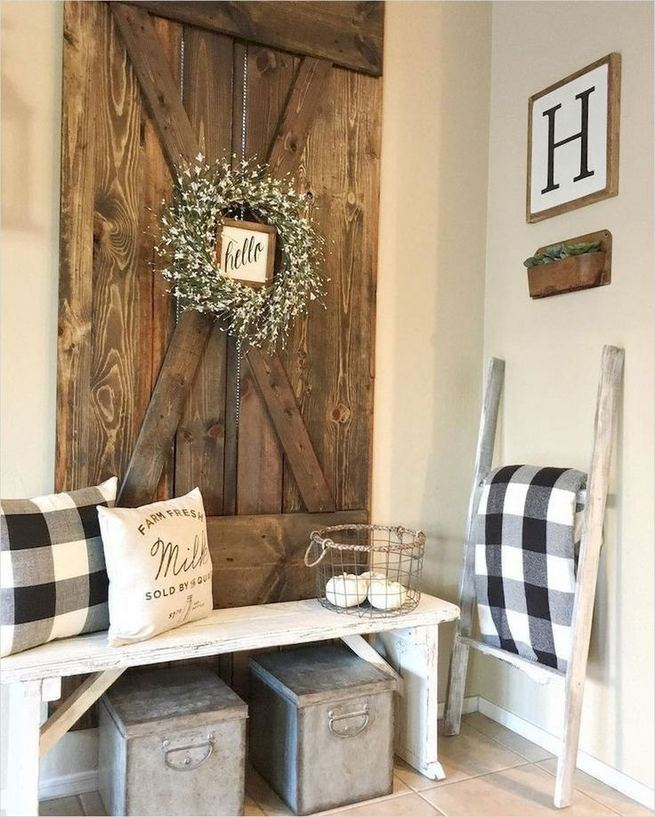 12 Stunning Rustic Small Mudroom Entryway Decor Ideas 34