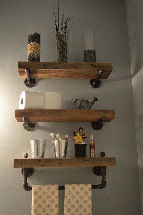 15 Models Bathroom Shelf With Industrial Farmhouse Towel Bar 16