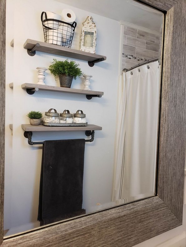 15 Models Bathroom Shelf With Industrial Farmhouse Towel Bar 26