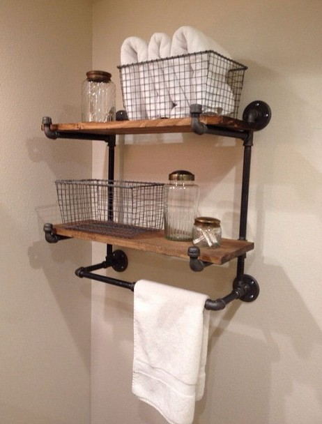 15 Models Bathroom Shelf With Industrial Farmhouse Towel Bar 27