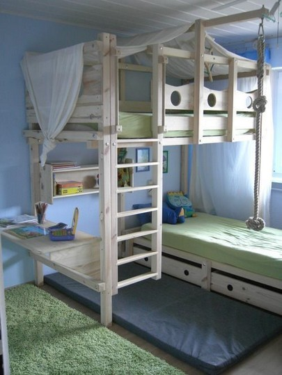 16 Bunk Beds Design Ideas With Desk Areas Help To Make Compact Bedrooms Bigger 03