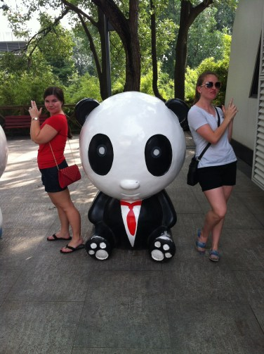 Amber and me, joining forces with Secret Service Panda.