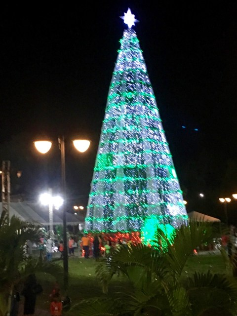 Giant Christmas Tree in Paramaribo's Independence Square.