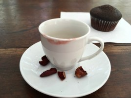 Chocolate tea & a chocolate cupcake. Hard for me to be a happier girl.