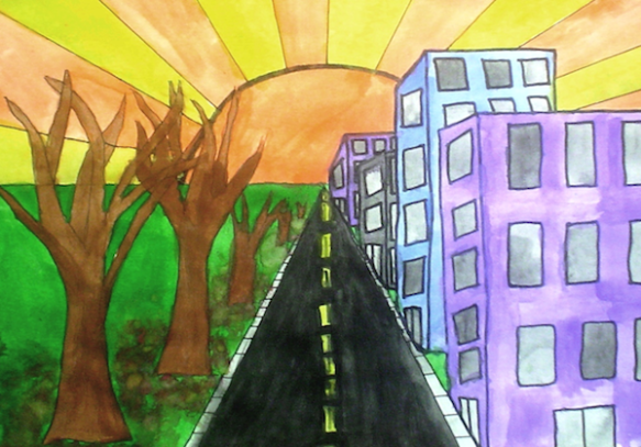 City Drawing With 1 Point Perspective La Mariposa Pawprint