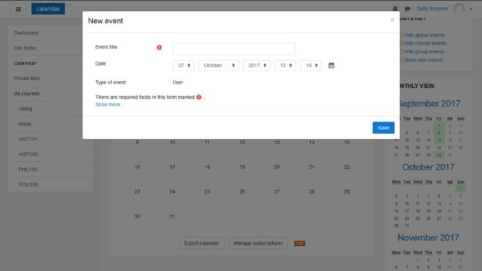 Moodle 3.4 Calendar Improvements