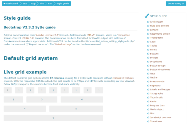 essential theme moodle style guide