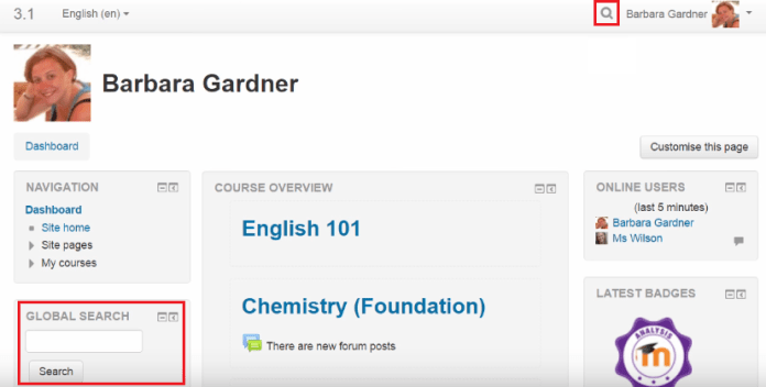 global search moodle