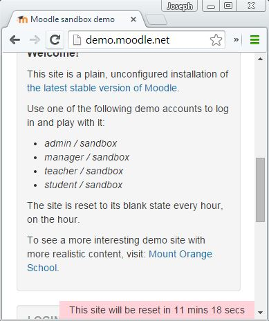 The demo.moodle.net Sandbox and reset notification.