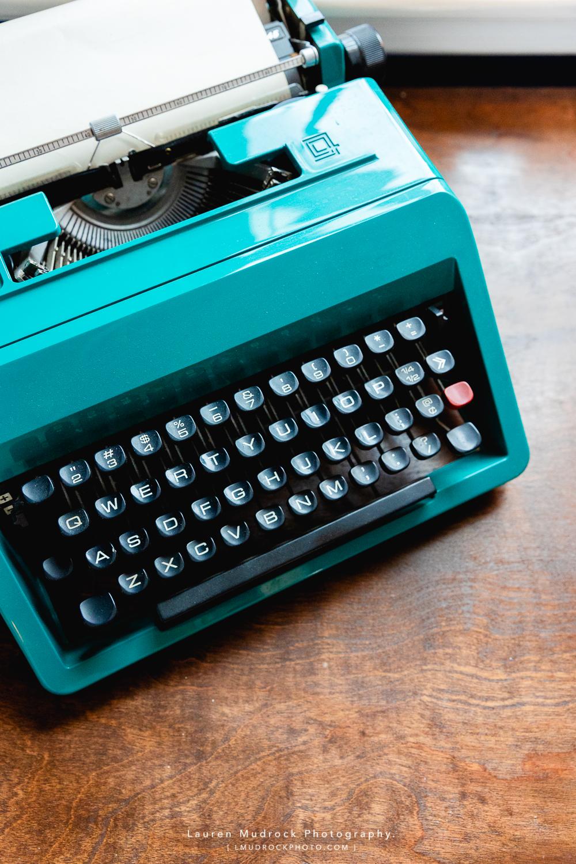 Blair's teal typewriter