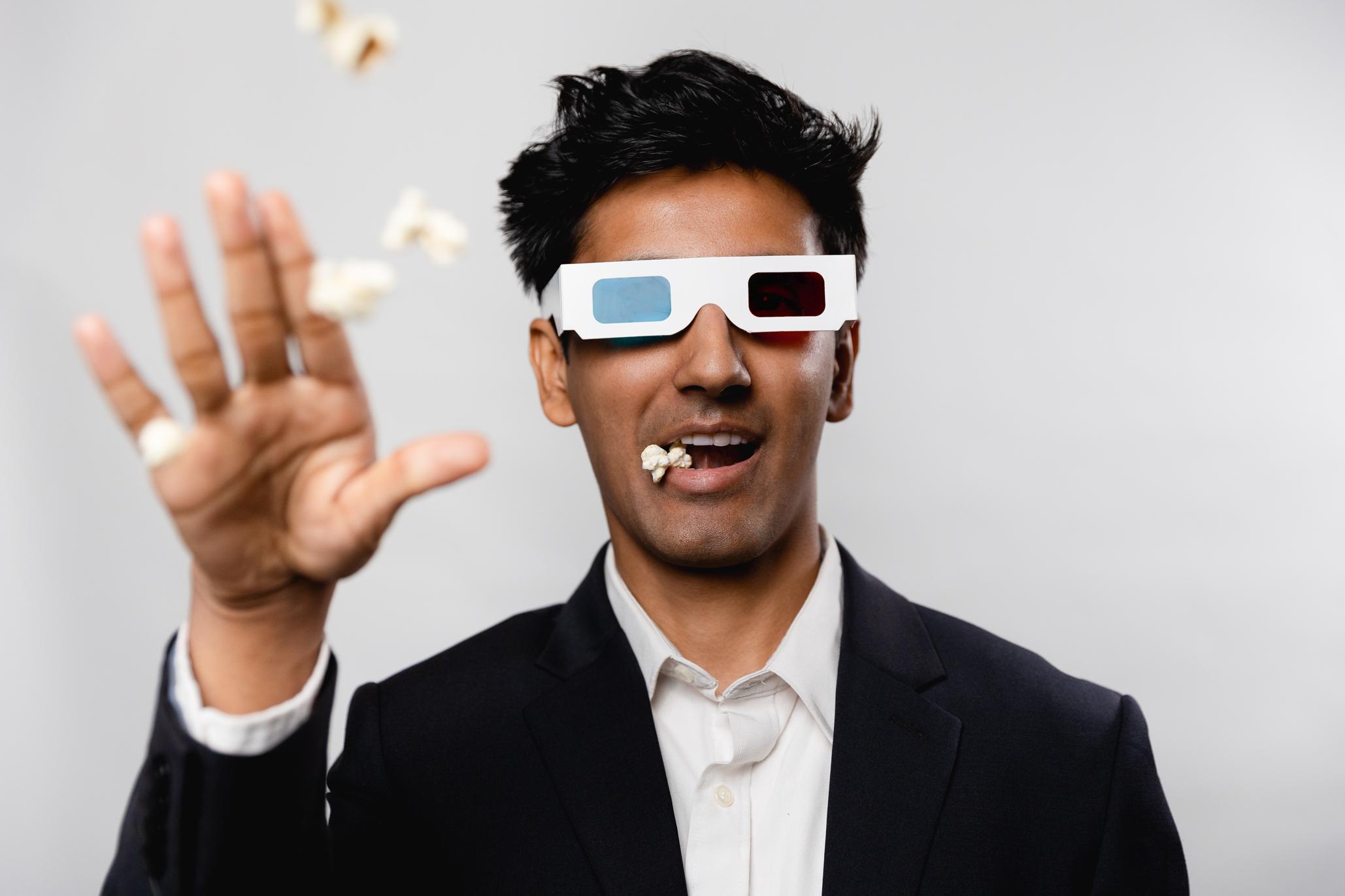 3d glasses popcorn headshot