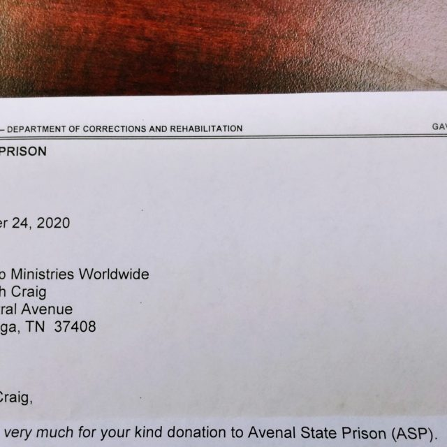 Letter from Avenal State Prison