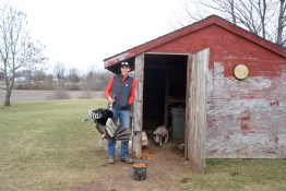 Cody Welkley holding his pet turkey after feeding his three pigs and other various animals on his little farm, March 9, 2017.