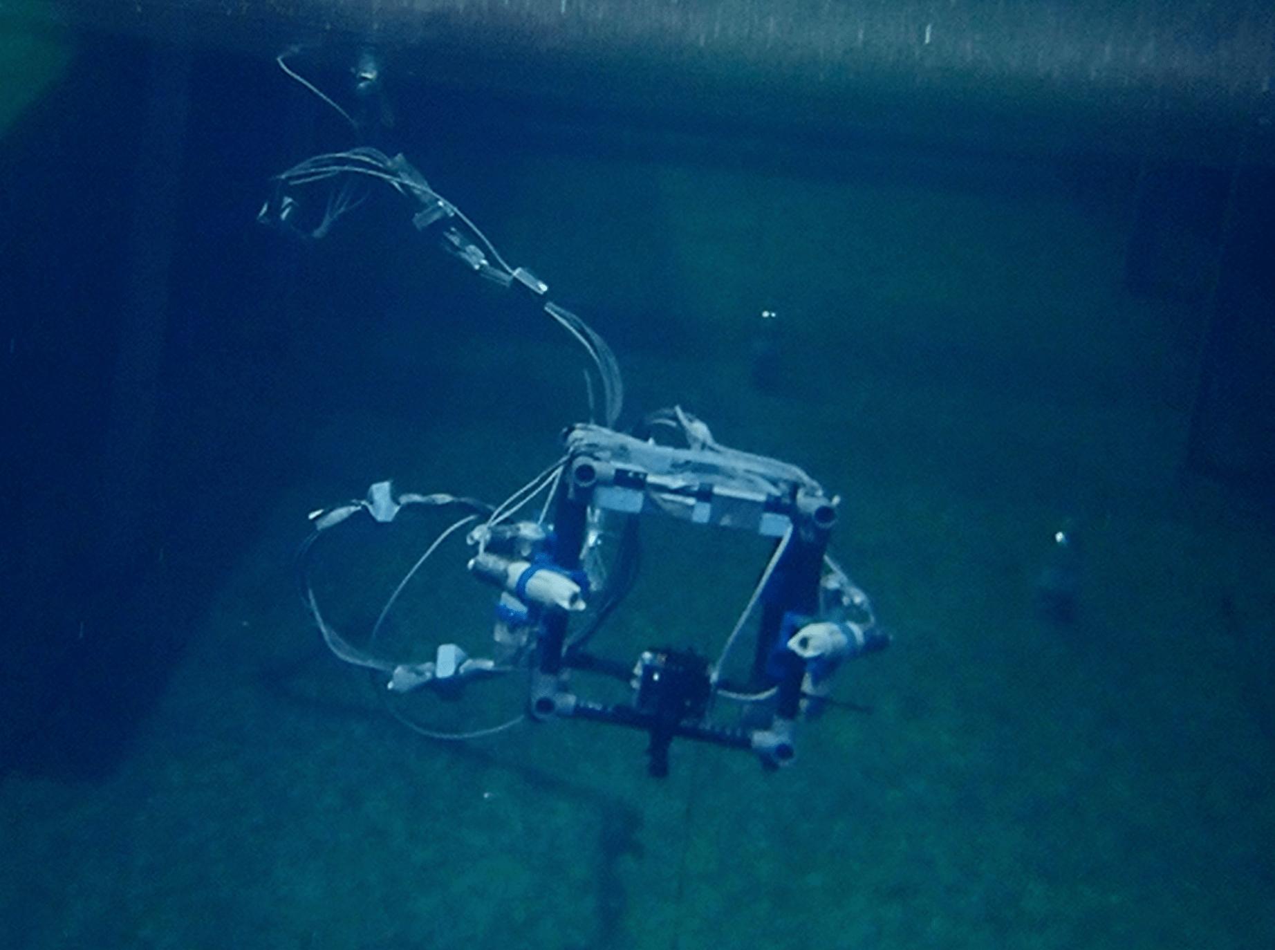 水中で動くROVの様子