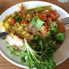 Dall de lentilles riz, potiron et lit de cresson