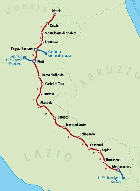 Cartina Italia Con Distanze Km.Il Percorso Del Cammino Cammino Di San Benedetto