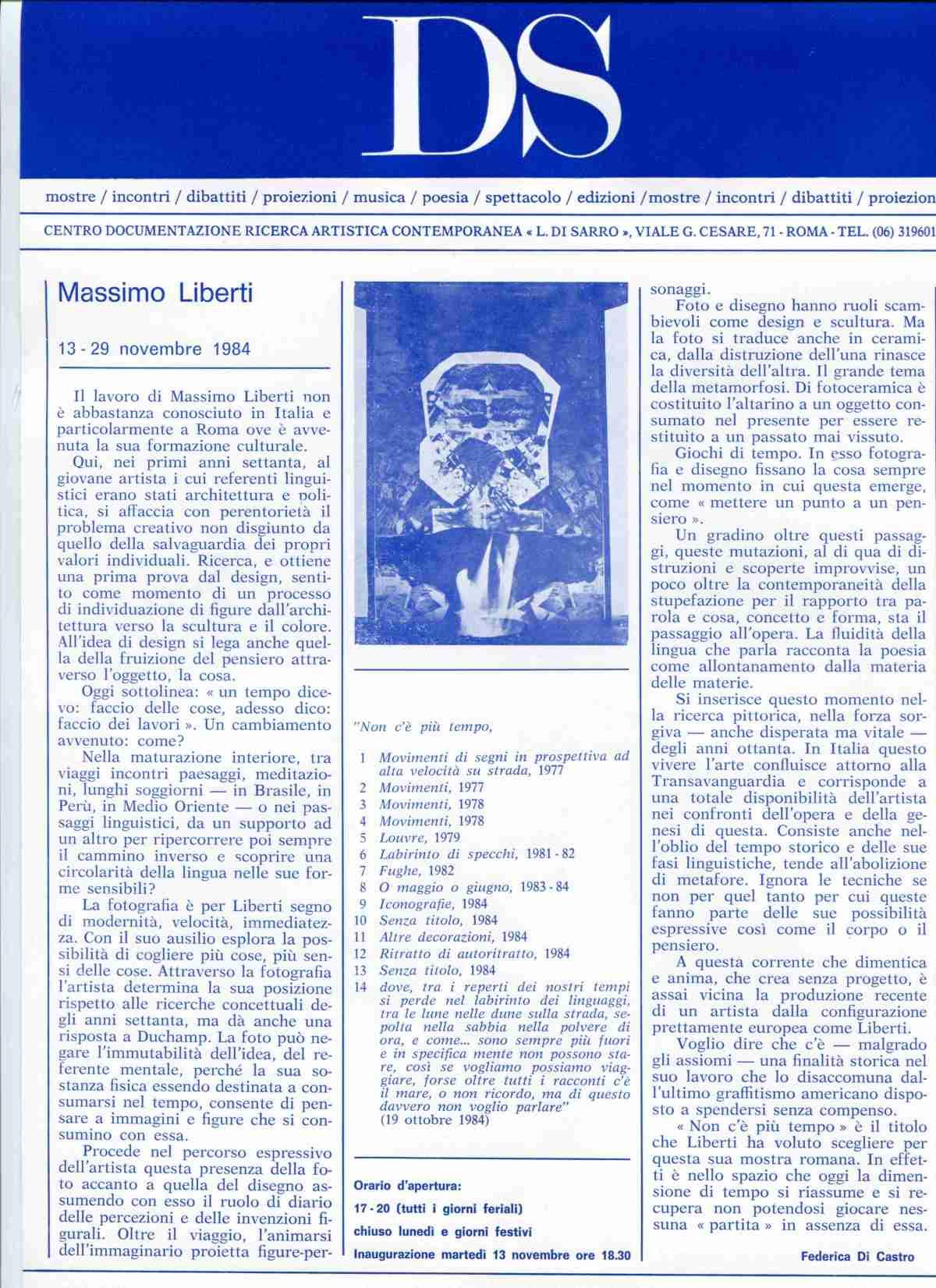 Massimo Liberti  13 - 29 novembre 1984