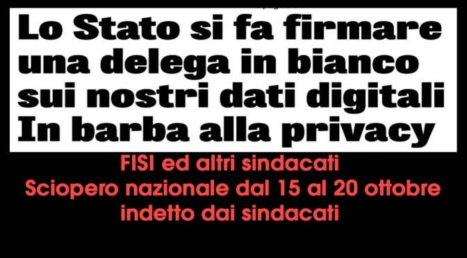 sciopero nazionale dal 15 al 20 ottobre 2021