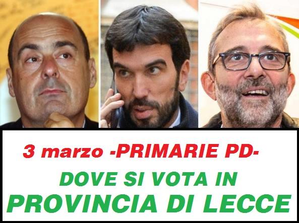 Primarie del 3 marzo - DOVE SI VOTA IN PROVINCIA DI LECCE -