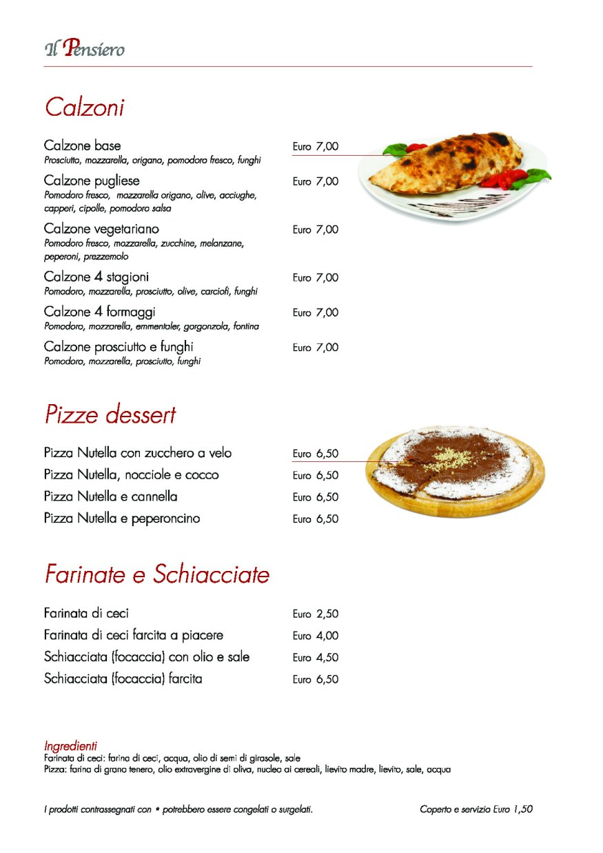 Menu Pizza Calzoni