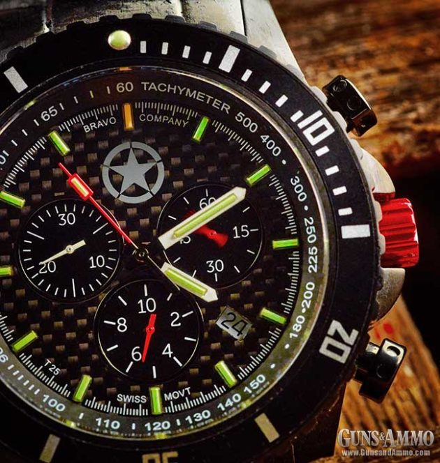 Each hour mark is illuminated with a green tritium tube, except for the 12 o'clock mark, which is illuminated with an orange tube. (Image courtesy of gunsandammo.com)