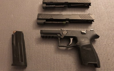 Sig P320 compact pistol with full length slide