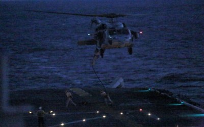 Loadout Room photo of the day: 15th MEU Force Recon conducts nighttime fast roping