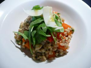 Pearl barley risotto with roasted squash, red peppers and rocket