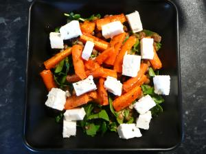 lentil and roast carrot salad with feta