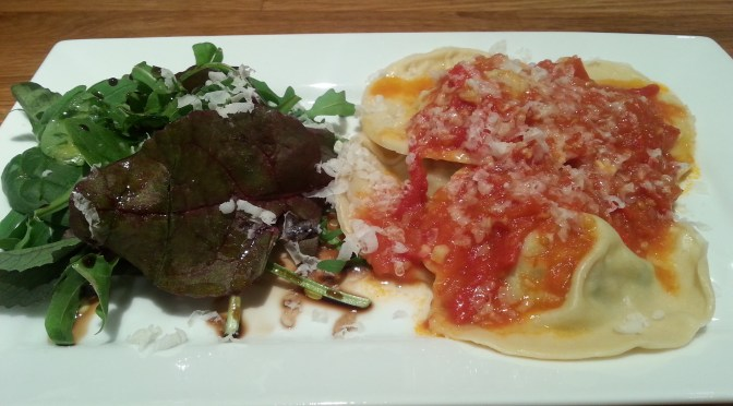 Three cheese Ravioli with tomato sauce