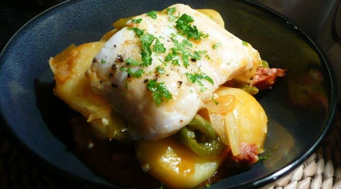 Hake with chorizo and potatoes