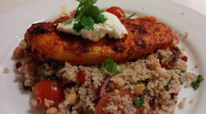 Red harrisa chicken with pomegranate cous cous