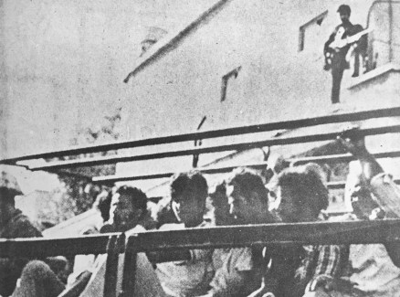 Greek Cypriot prisoners being transferred to Turkey by Turkish troops in 1974.