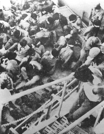 Greek Cypriot prisoners being transferred to Turkey, blindfolded and hands bound.