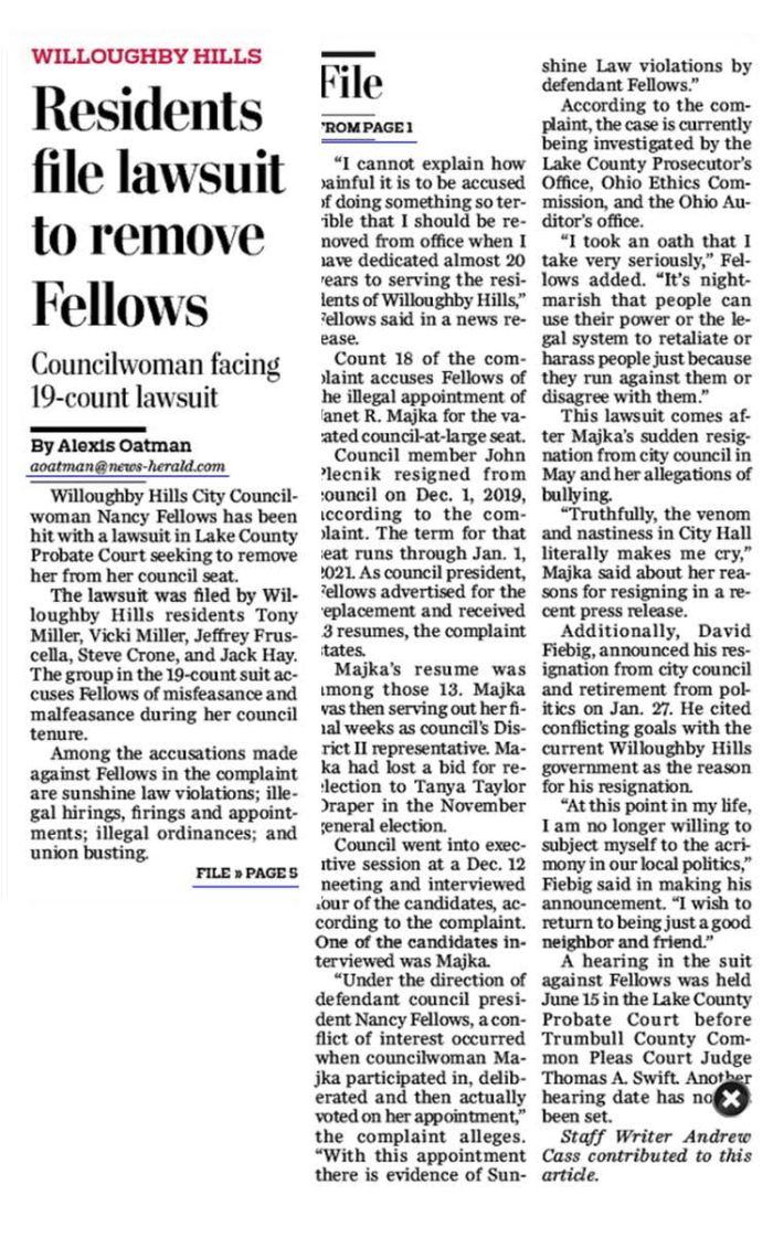 NH article on WH lawsuit