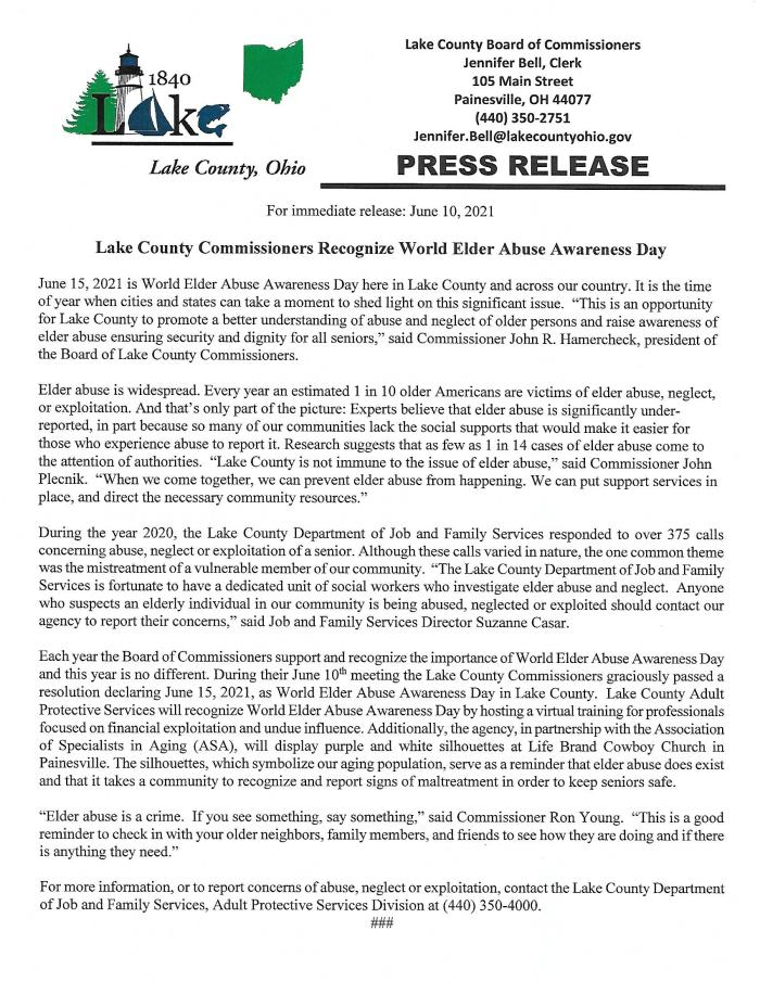 Lake County Commissioners Recognize World Elder Abuse Awareness Day.