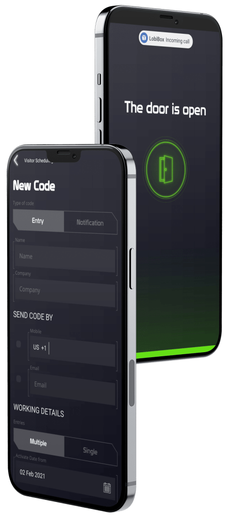 Visitor Code Creation and Open Door Screen on mobile app