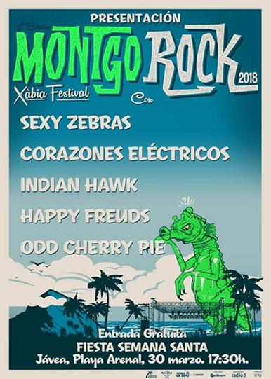 Cartel fiesta de presentación de Montgorock Xàbia Festival en Alicante