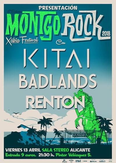 Cartel Fiesta de Presentación del Montgorock Xàbia Festival en Sala Stereo de Alicante